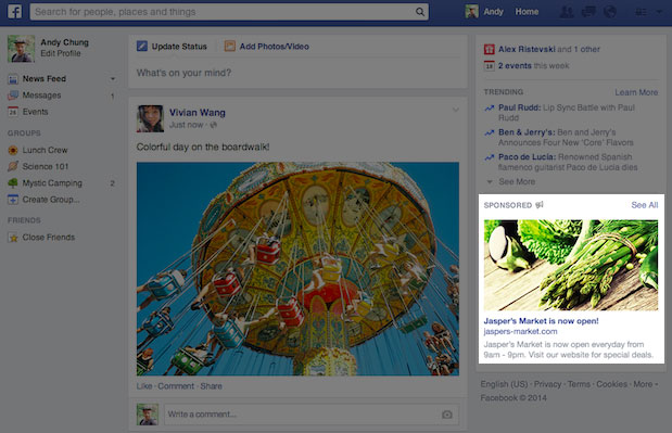 Facebook updates the right-hand column ad design